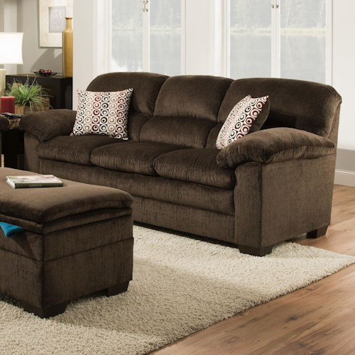 United Furniture Industries 3684 Stationary Sofa with Pillow Arms & Exposed Wood Legs