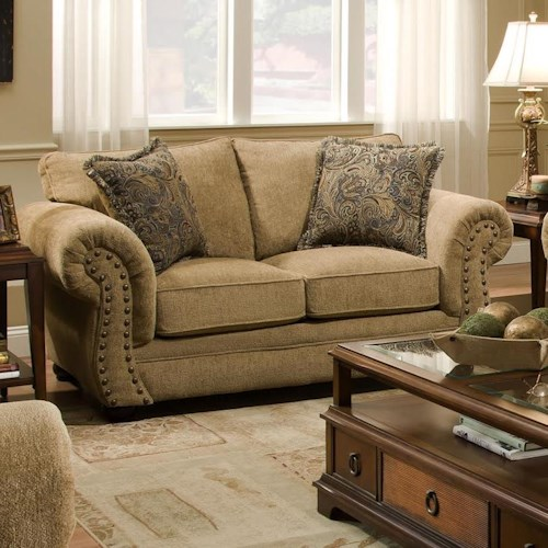 United Furniture Industries 4277 Traditional Loveseat with Rolled Arms and Nailhead Trim