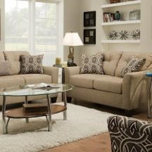 United Furniture Industries 4315 Transitional Loveseat with Wood Legs