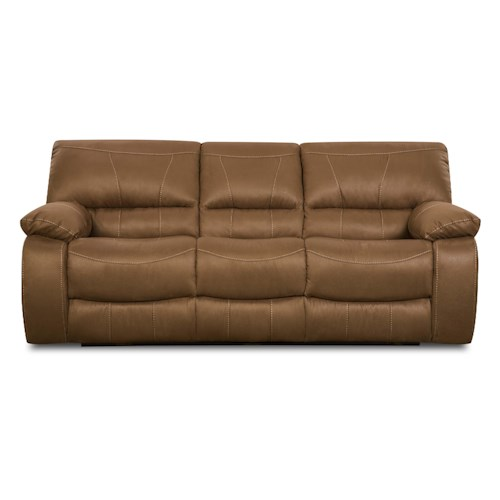 Simmons Upholstery 50240 Casual Reclining Sofa with Bucket Seats and Pillow Arms