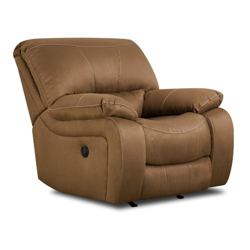 Simmons Upholstery 50240 Casual Rocker Recliner with Bucket Seat and Pillow Arms