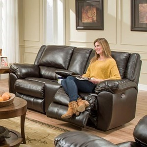 United Furniture Industries 50433BR Power Double Motion Console Loveseat with USB Charging Port