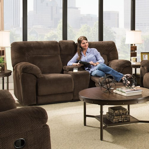 United Furniture Industries 50570 Casual Double Motion Loveseat with Console