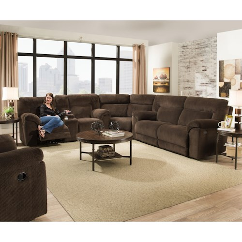 United Furniture Industries 50570 Casual Reclining Sectional Sofa with Storage Console