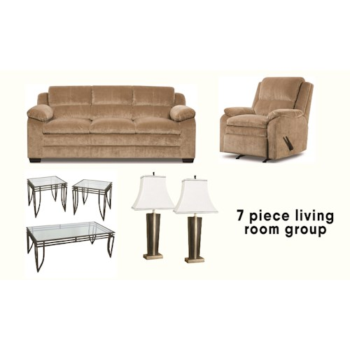 Simmons Upholstery Camel 7 Piece Living Room Ivan Smith Furniture Stationary Living Room Groups