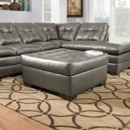 United Furniture Industries 5122 Transitional Cocktail Ottoman with Tufting