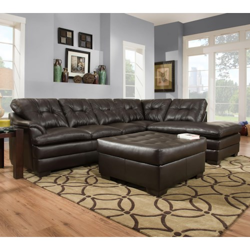 United Furniture Industries 5122 Transitional Sectional Sofa with Tufted Back