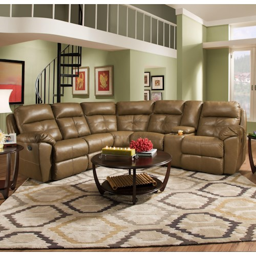 United Furniture Industries 53200 Casual Reclining Sectional Sofa with Console