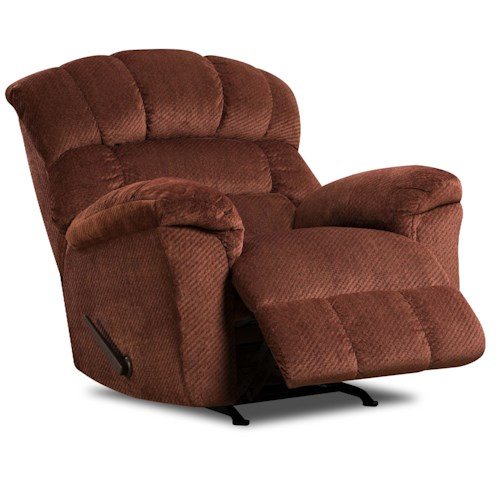 United Furniture Industries 558 Large Scale Rocker Recliner with Plush Back Cushions