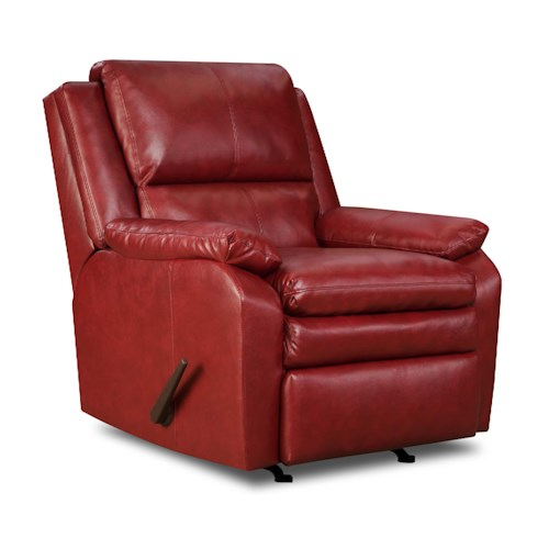 United Furniture Industries 566 Casual Rocker Recliner with Pillow Arms and Seat