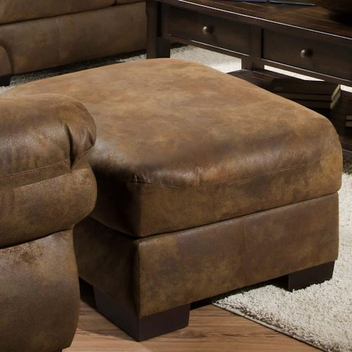 United Furniture Industries 6270 Transitional Square Ottoman with Exposed Wood Legs