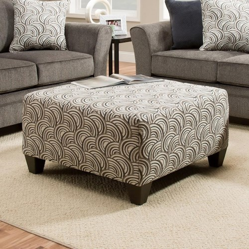 United Furniture Industries 6485 Cocktail Ottoman with Wood Legs