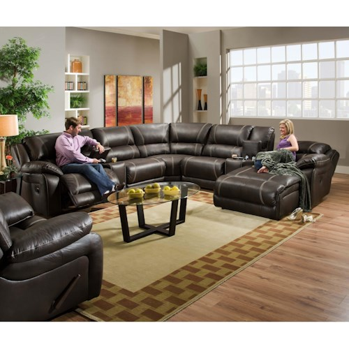 United Furniture Industries 660 Casual Reclining Sectional Sofa