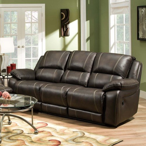 United Furniture Industries 660 Casual Double Motion Sofa with Plush Padded Arms