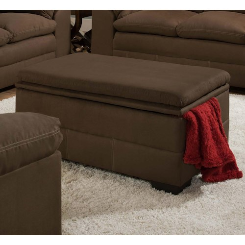 United Furniture Industries 6765 Casual Storage Ottoman with Exposed Wood Block Feet