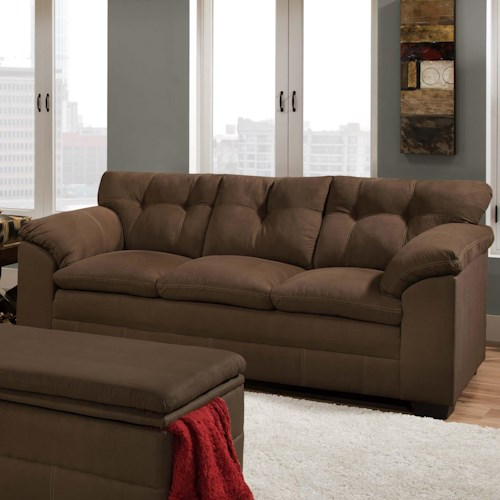 United Furniture Industries 6765 Casual Button-Tufted Sofa with Pillow Arms