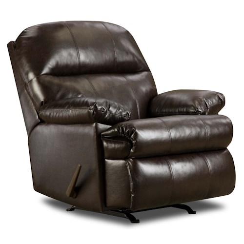 United Furniture Industries 702 Casual Bonded Leather Rocker Recliner