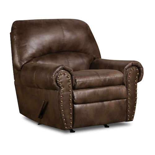 Simmons Upholstery 7510 Rocker Recliner with Large Nailhead Trim