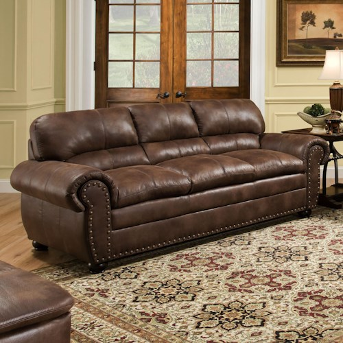 Simmons Upholstery 7510 Casual Sofa with Rolled Arms and Nailhead Trim