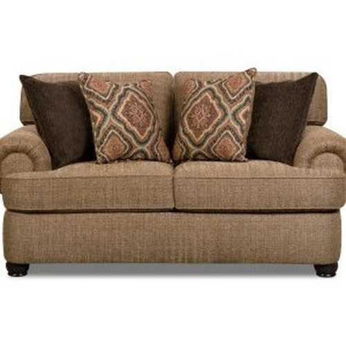 Simmons Upholstery 7533 BR Transitional Loveseat with Rolled Arms