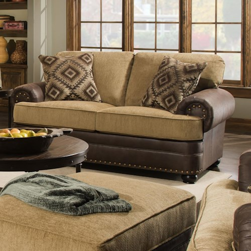 United Furniture Industries 7541 Rustic Style Loveseat with Nail Head Trim
