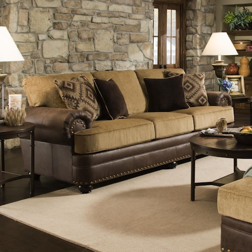 United Furniture Industries 7541 Rustic Style Sofa with Nailhead Trim