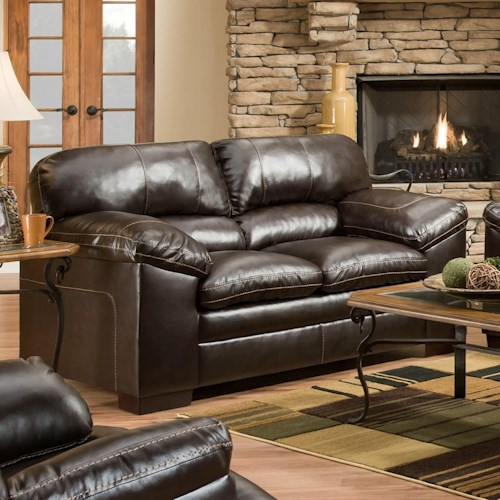 Simmons Upholstery 8049 Casual Loveseat with Pillow Arms