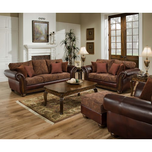 United Furniture Industries 8104 2 Piece Traditional Stationary Living Room Group