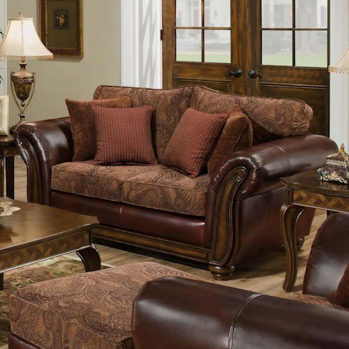 United Furniture Industries 8104 Leather and Chenille Love Seat