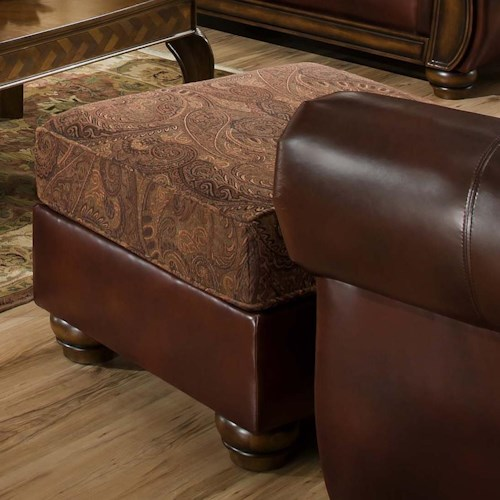 United Furniture Industries 8104 Traditional Ottoman with Bun Feet