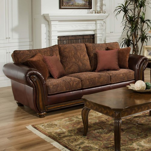 United Furniture Industries 8104 Queen Leather and Chenille Hide-A-Bed Sofa Sleeper