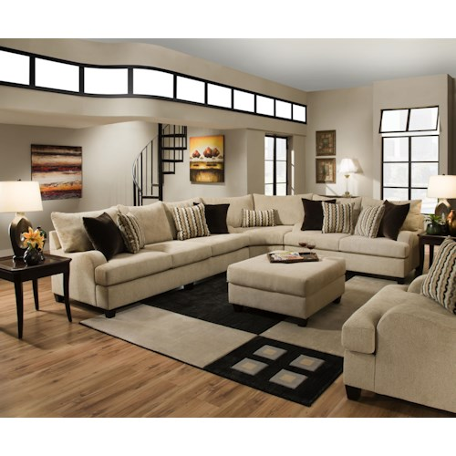 Simmons Upholstery 8520 Traditional Sectional Sofa with English Rolled Arms