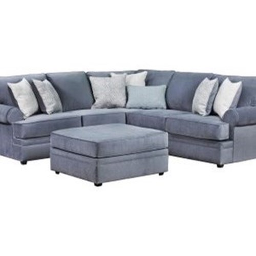 United Furniture Industries 8530 BR Transitional Sectional Sofa with Rolled Arms