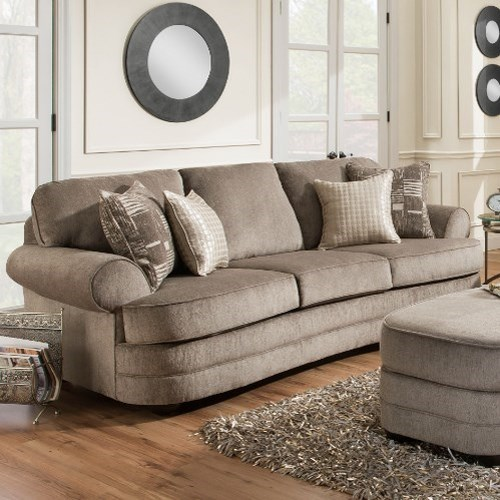 Simmons Upholstery 9255BR Transitional Sofa with Rolled Arms
