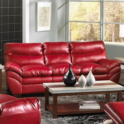 Simmons Upholstery 9515 Casual Contemporary Three Seat Sofa with Angled Pillow Arms