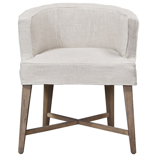 Universal Authenticity Slip Covered Barrel Chair in Belgian Linen