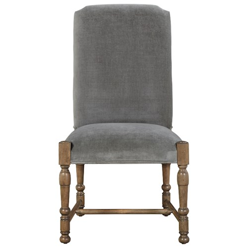 Universal Authenticity Brussels Side Chair in Grey Cloud Velvet