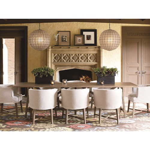 Universal Authenticity 9 Piece X Stretcher Table and Barrel Chair Set