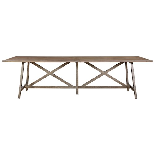 Universal Authenticity Reunion Dining Table with X-Style Stretcher Base