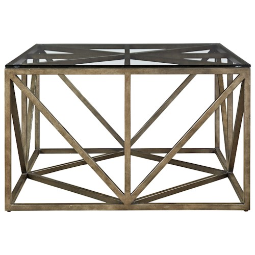 Universal Authenticity Truss Square Cocktail Table with Tempered Glass Top