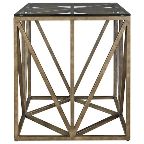 Universal Authenticity Truss Square End Table with Tempered Glass Top