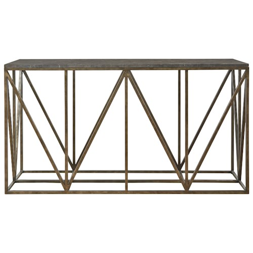 Universal Authenticity Truss Console Table with Bluestone Top