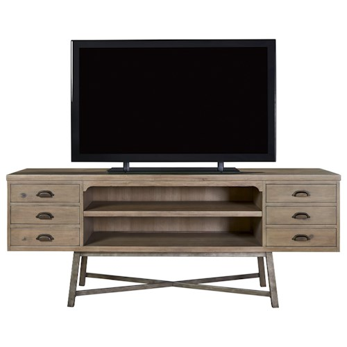Universal Authenticity 6 Drawer Entertainment Console with Metal Base