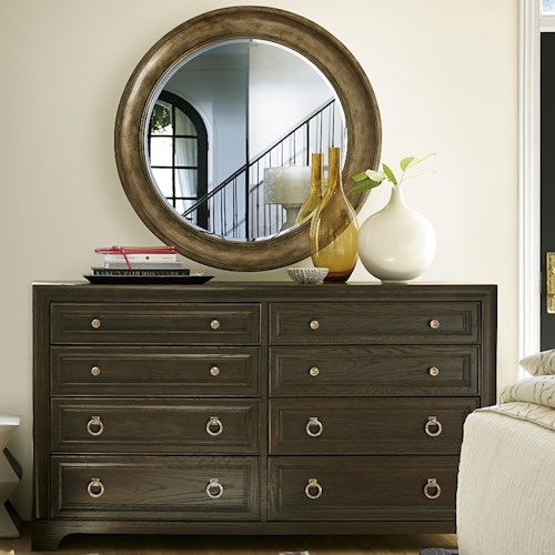 Universal California - Hollywood Hills 8-Drawer Dresser and Round Mirror Set