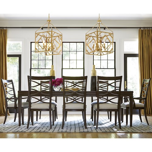 Morris Home Furnishings California - Hollywood Hills 9 Piece Dining Set with X-Back Side Chairs