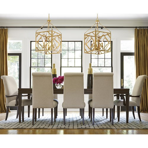 Morris Home Furnishings California - Hollywood Hills 9 Piece Dining Set with Upholstered Chairs