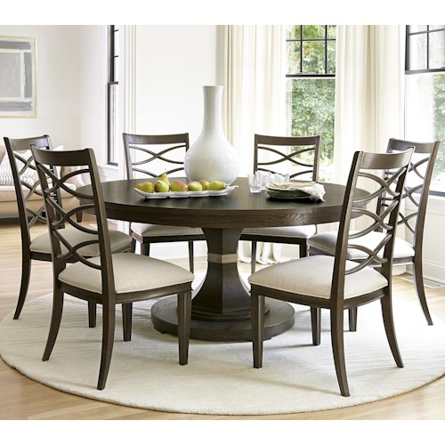 Morris Home Furnishings California - Hollywood Hills 7 Piece Dining Set with Round Table and X-Back Chairs