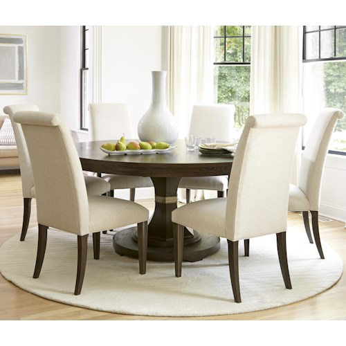 Universal California - Hollywood Hills 7 Piece Dining Set with Round Table and Upholstered Chairs