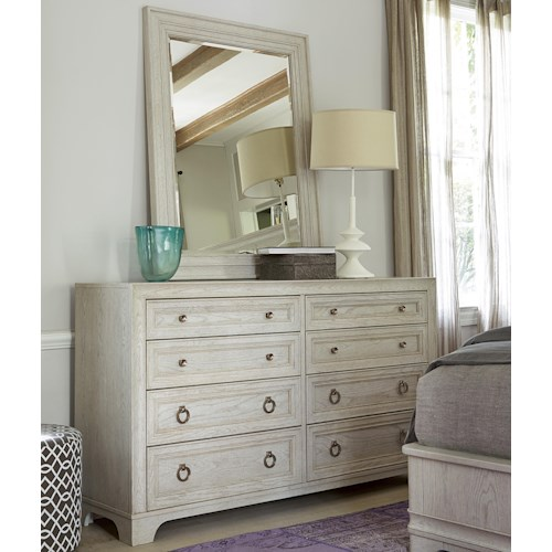Universal California - Malibu 8-Drawer Dresser with Landscape Mirror