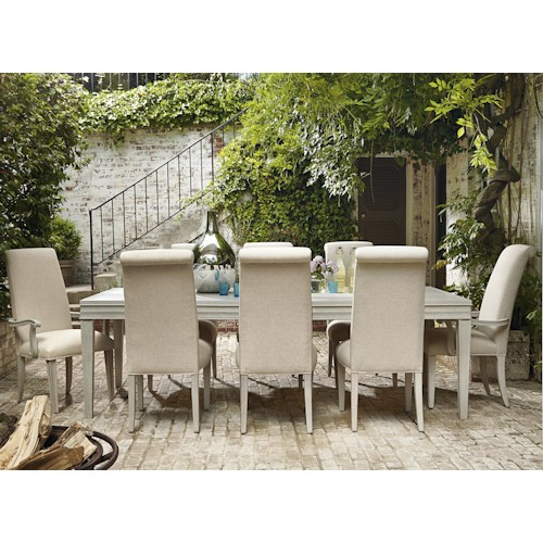 Universal California - Malibu 9 Piece Dining Set with Upholstered Chairs